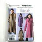 Misses Miss Petite Coats Threads Simplicity Sewing Pattern 4033