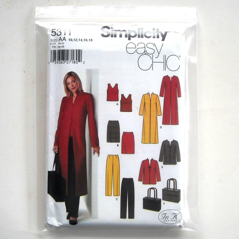 Misses Womens Top Skirt Pants Coat Simplicity Sewing Pattern 5311