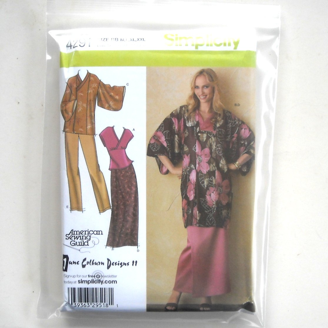 Lined Kimono Top Pants Skirt Simplicity Sewing Pattern 4291