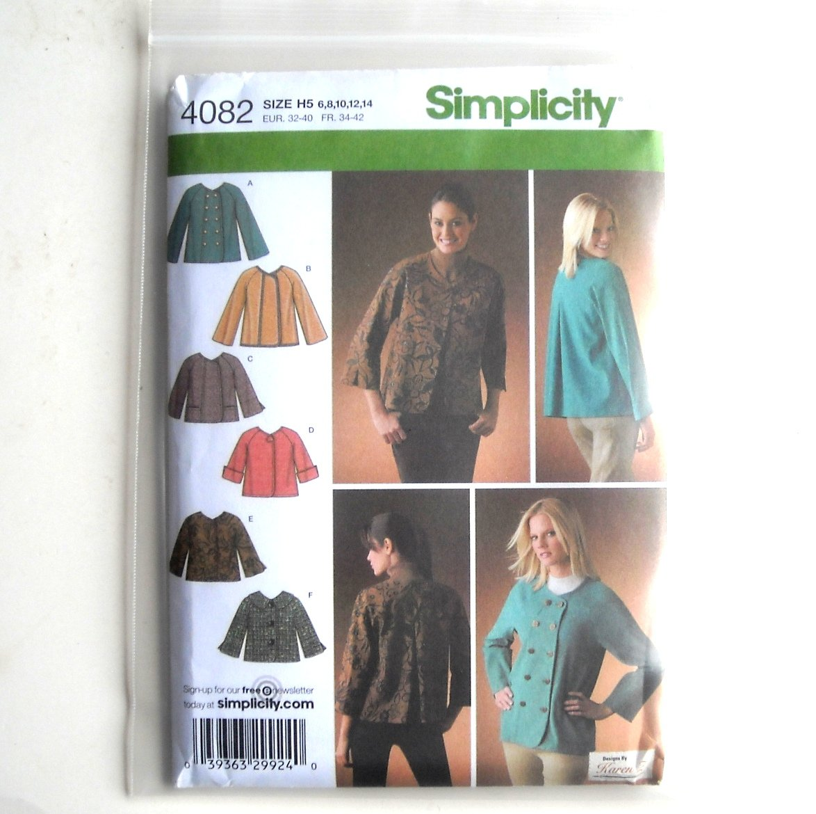 Misses Jackets Karen Z Design Simplicity Sewing Pattern 4082