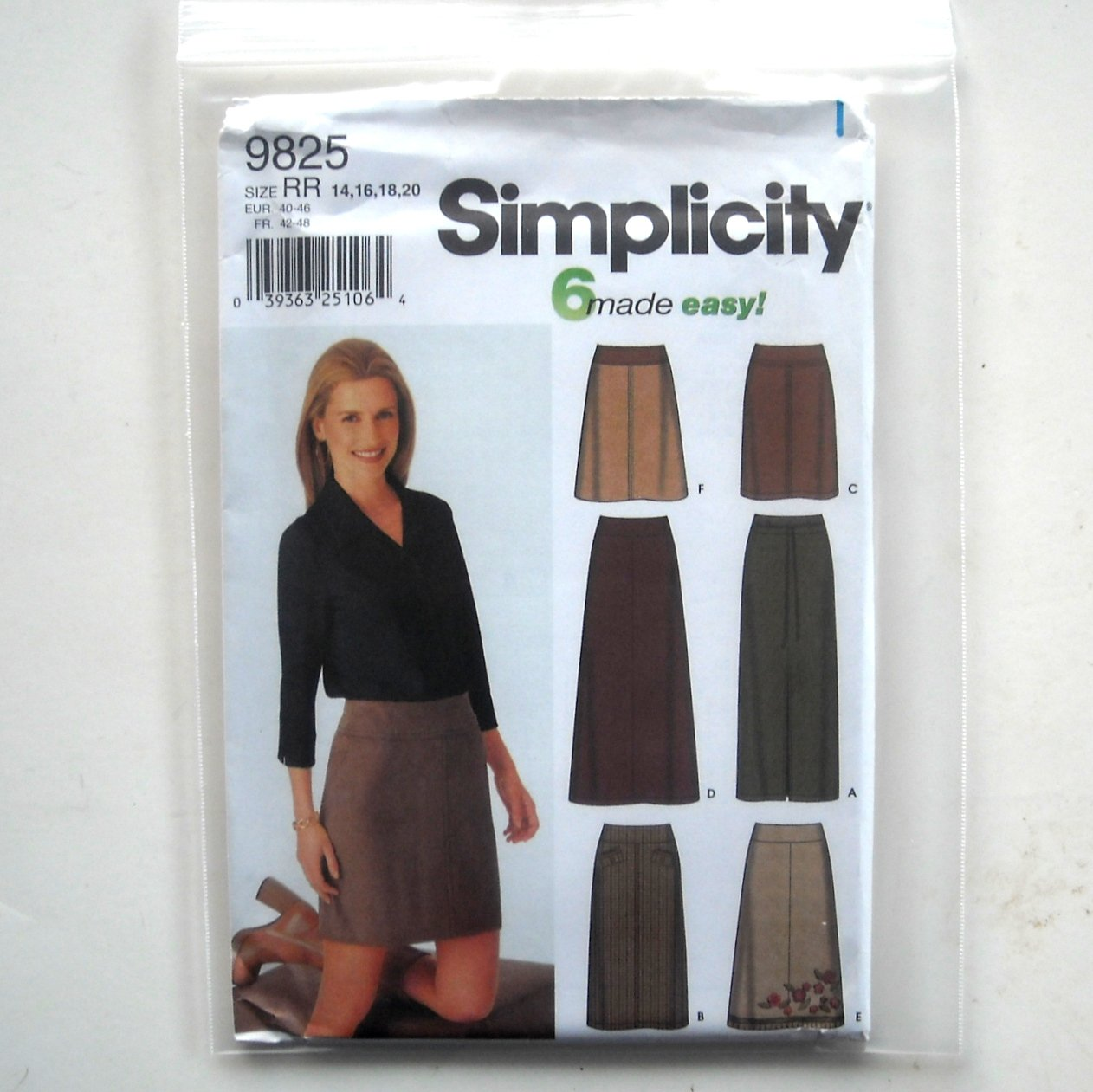 Misses 6 Skirts 14 16 18 20 Simplicity Sewing Pattern 9825
