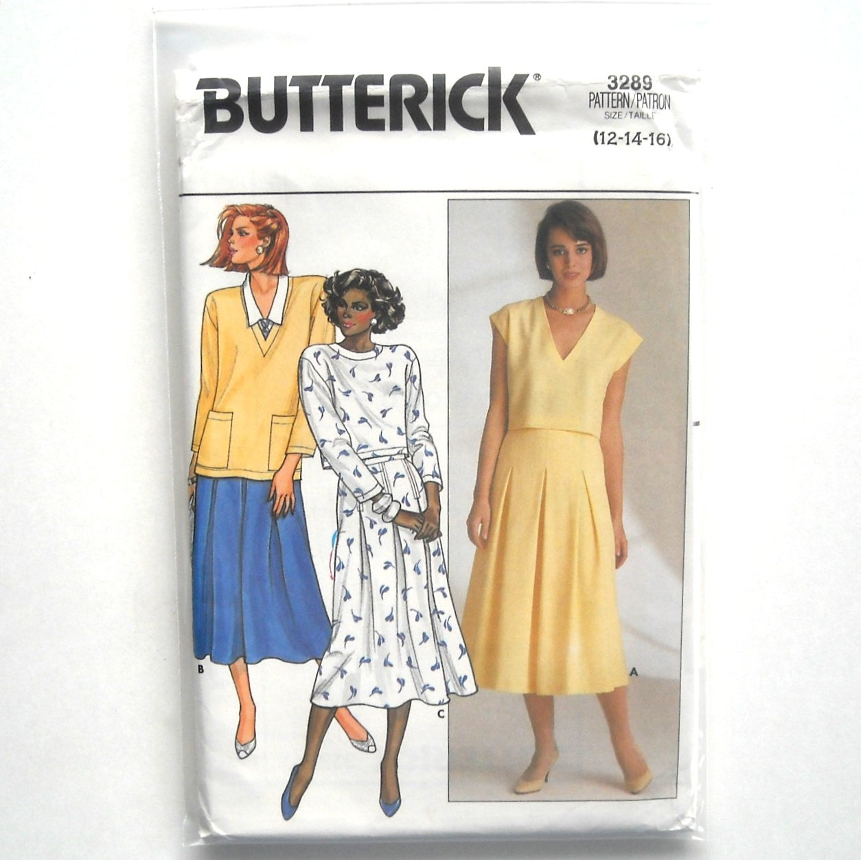 Top Skirt Misses 12 14 16 Vintage Butterick Sewing Pattern 3289