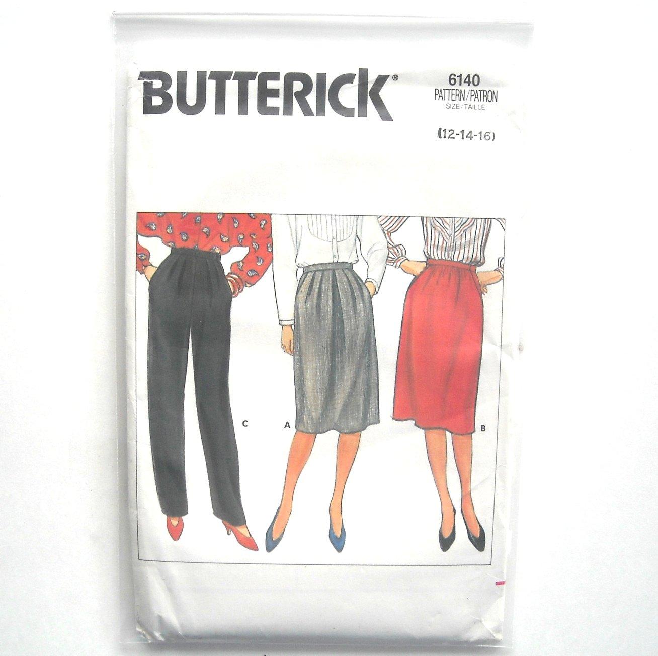 Misses Skirt Pants 12 14 16 Vintage Butterick Sewing Pattern 6140