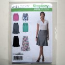 Easy To Sew Misses Womens Skirts 4 6 8 10 12 Simplicity Pattern 2451