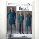 Misses Womens Dress Jacket Pants Cardigan 10 12 14 16 18 Threads Simplicity Pattern 2474
