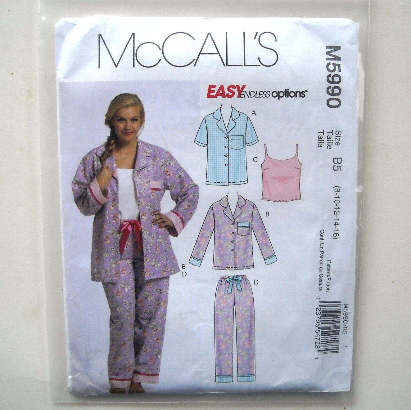 Misses Womens Tops Camisole Pants 8 10 12 14 16 Out Of Print McCalls Sewing Pattern M5990
