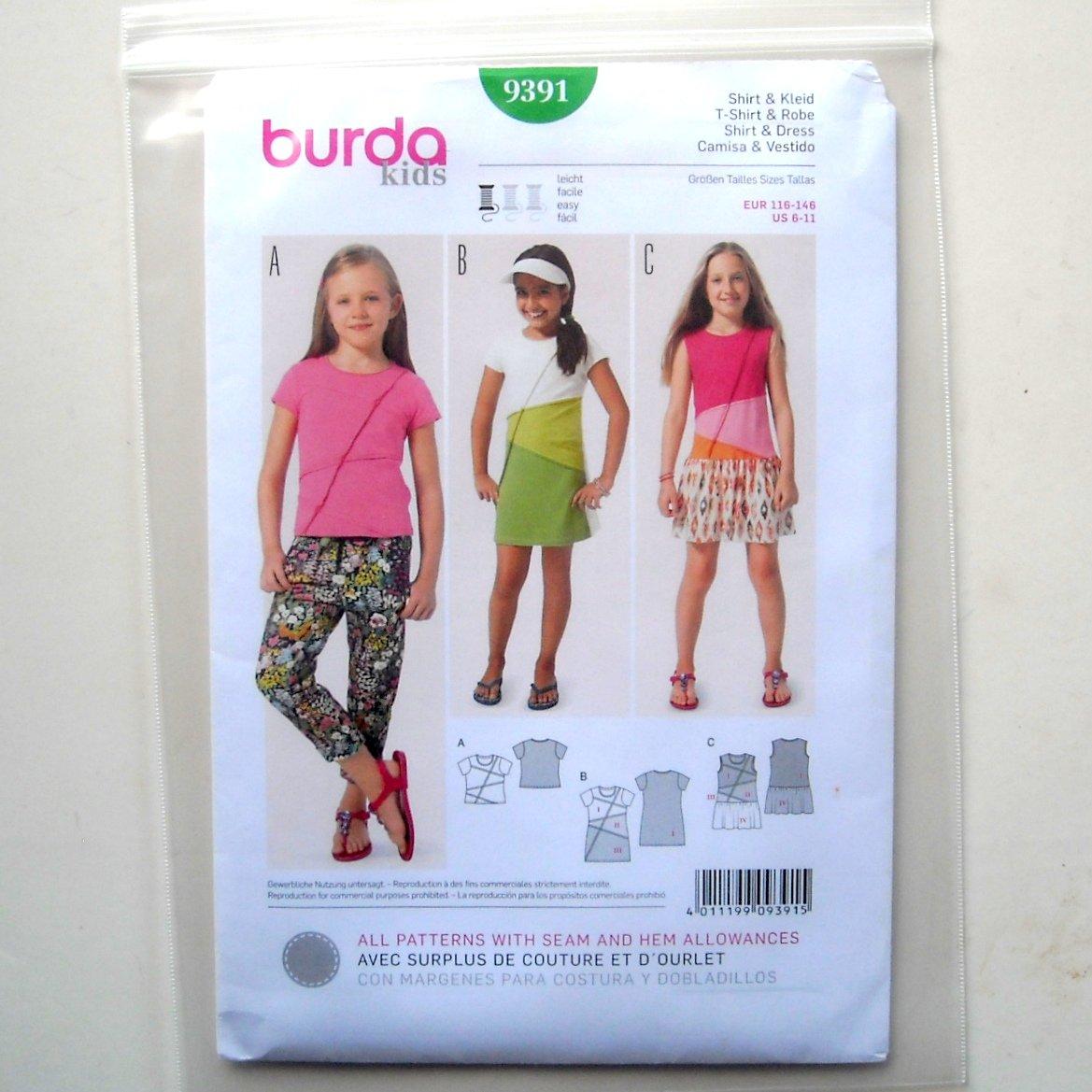 T Shirt Dress 6 7 8 9 10 11 Burda Kids Sewing Pattern 9391