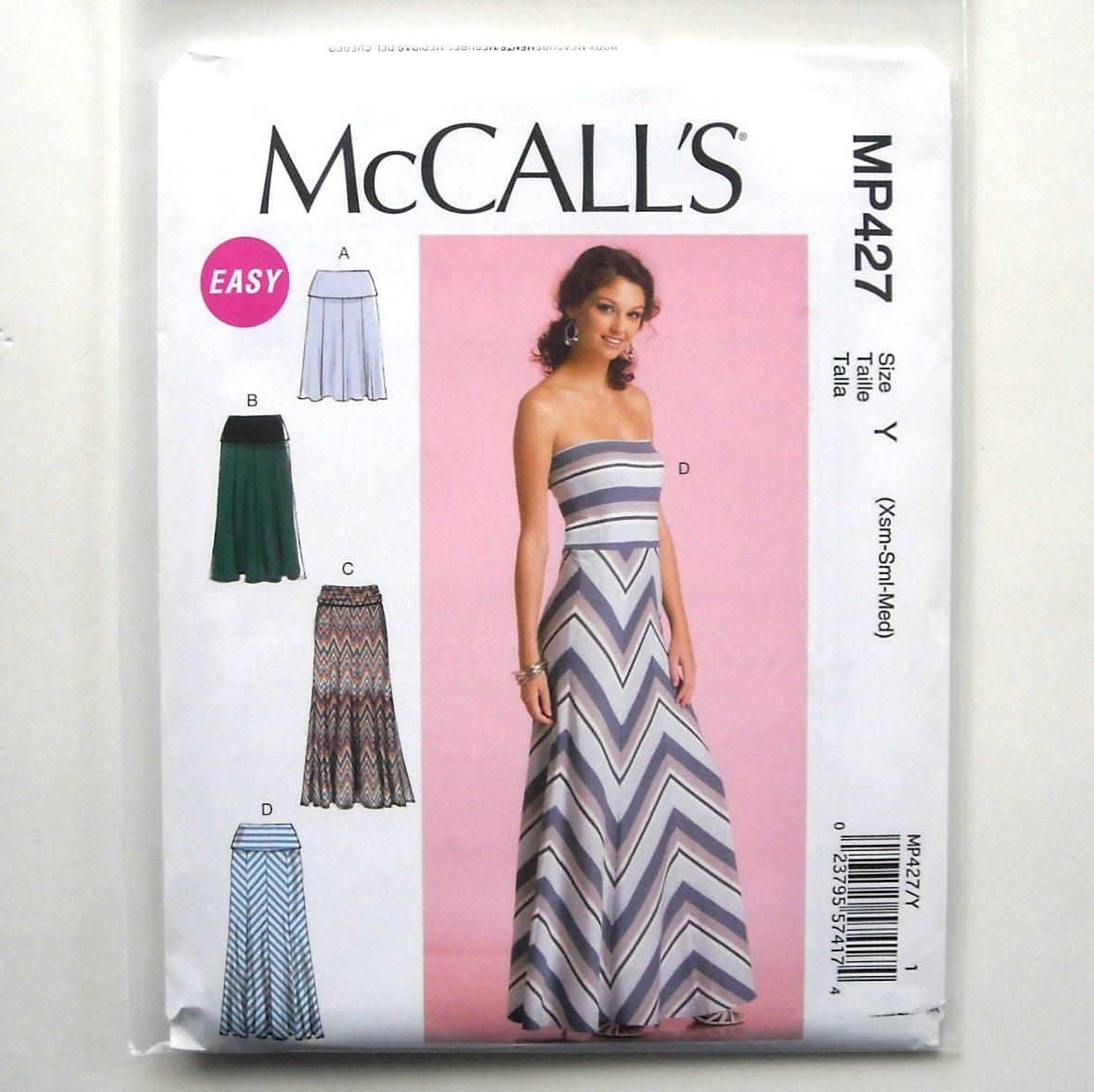 Misses Tube Dress Skirts XS S M McCalls Sewing Pattern MP427