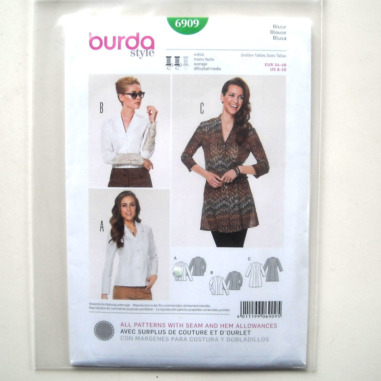 Misses Top Blouse 8 - 20 Burda Style Sewing Pattern 6909