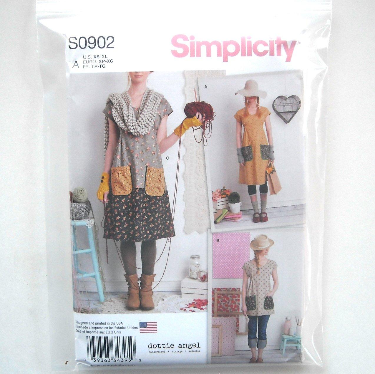 Misses Dress Tunic XS S M L XL Dottie Angel Simplicity Sewing Pattern S0902