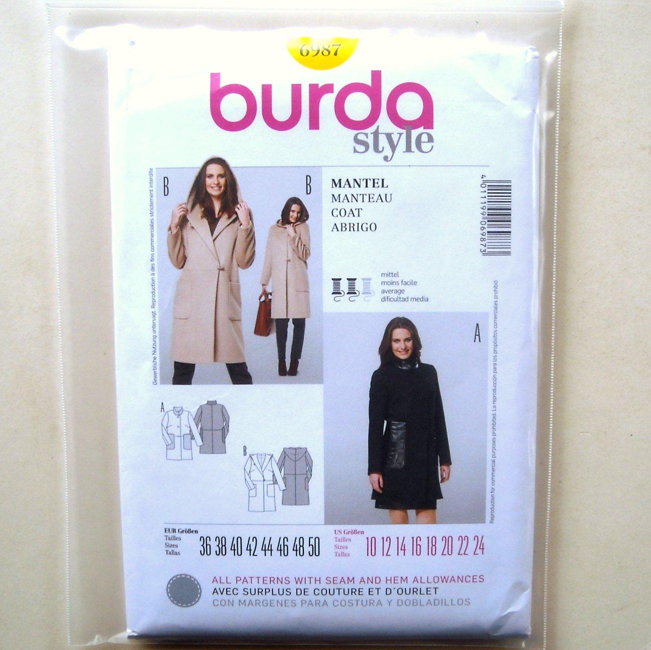 Misses Coat 10 12 14 16 18 20 22 24 Burda Style Sewing Pattern 6987