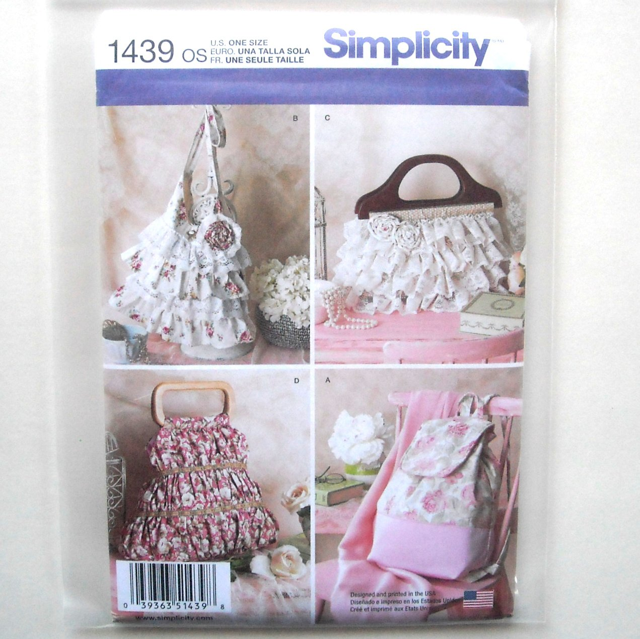 4 Bags One Size Simplicity Sewing Pattern 1439