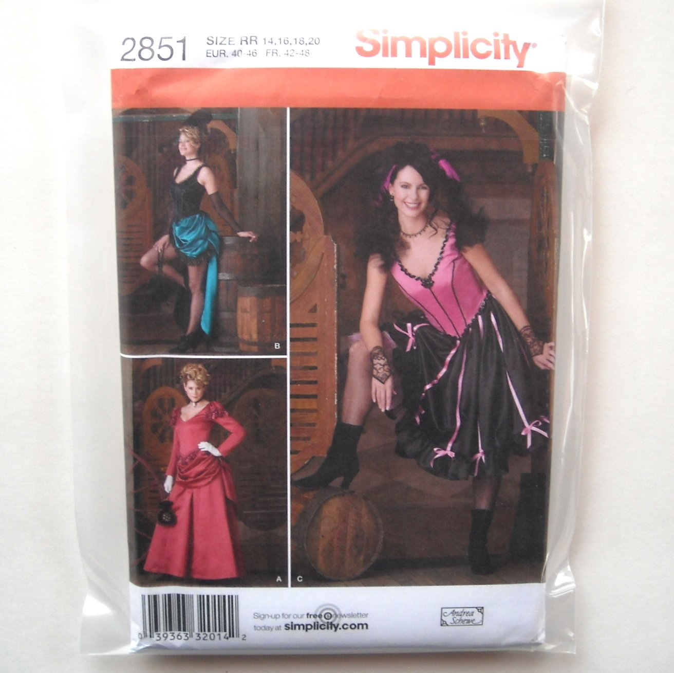 Misses Womens Saloon Girl Costumes 14 16 18 20 Simplicity Sewing Pattern 2851