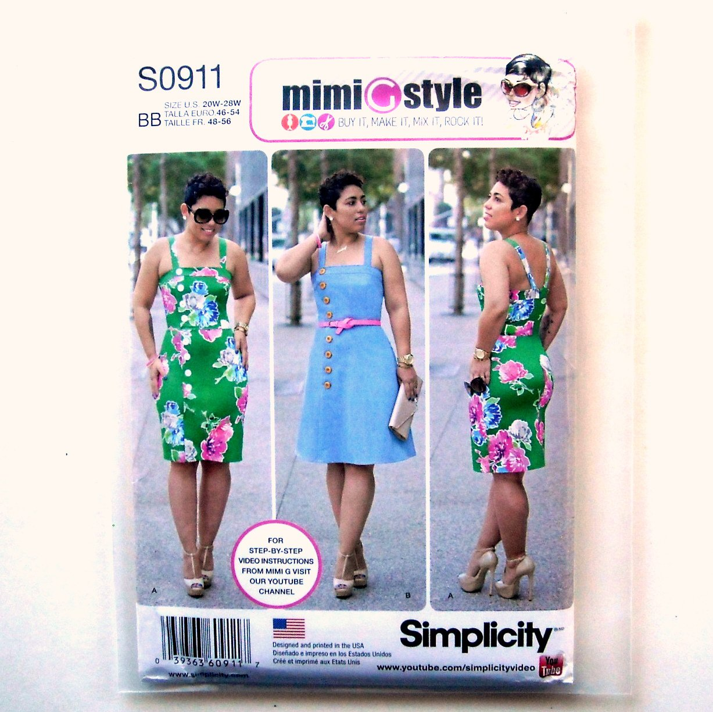 Misses Womens Dress 20W 22W 24W 26W 28W Simplicity Sewing Pattern S0911