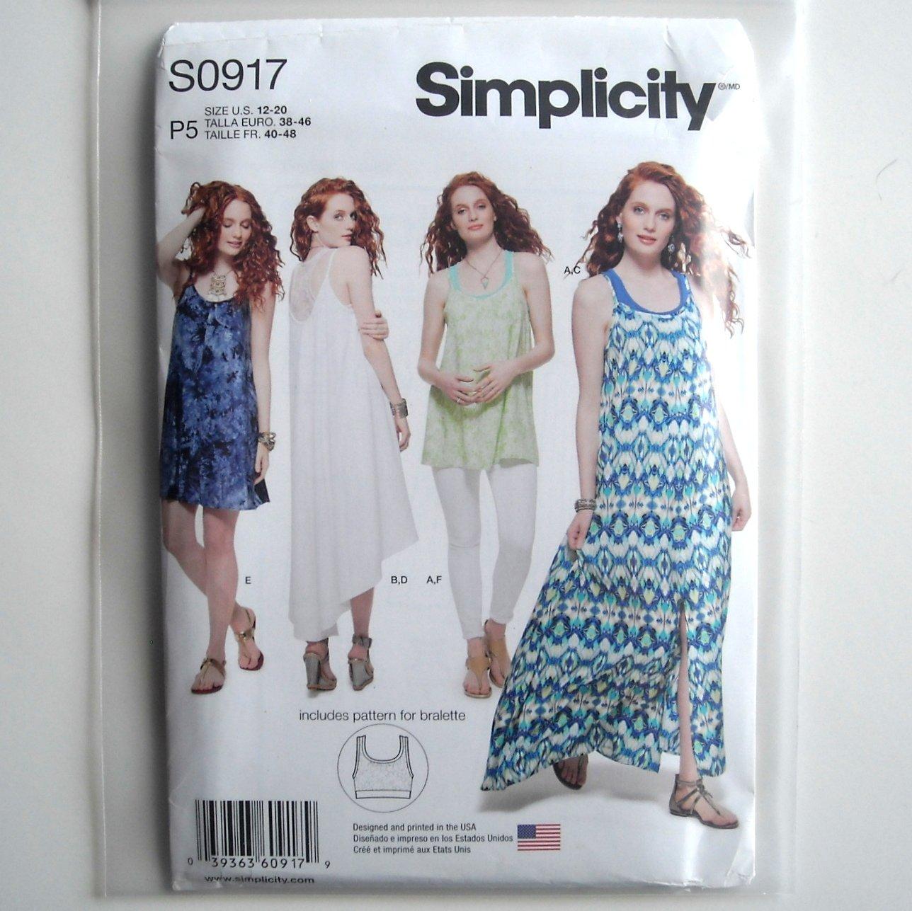 Womens Tank Dress Tunic 12 14 16 18 20 Simplicity Sewing Pattern S0917