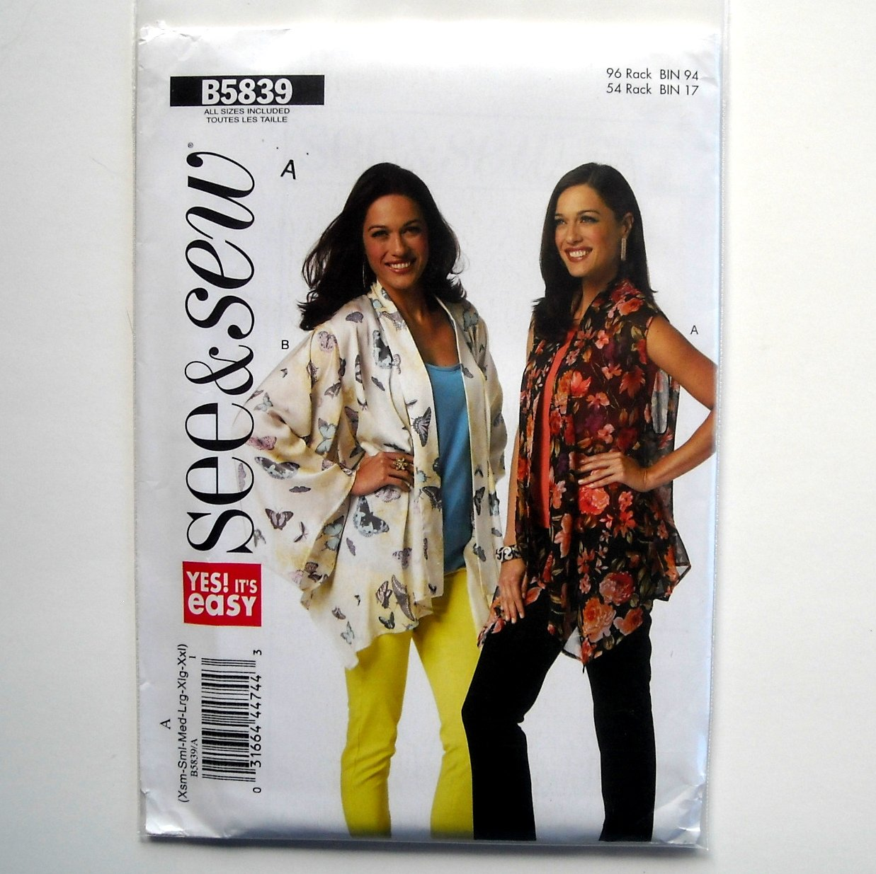 Misses Jacket Very Easy All Sizes See & Sew Butterick Pattern B5839
