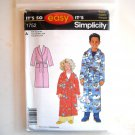 Childs Girls Boys Robe Size 3 - 14 Easy Simplicity Sewing Pattern 1752