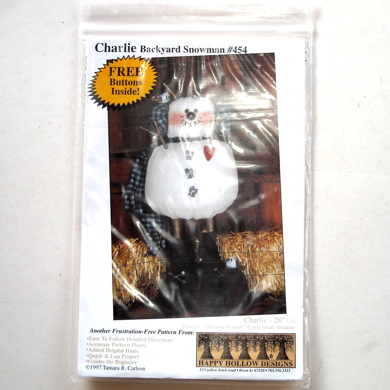 Charlie Backyard Snowman Happy Hollow Designs # 454