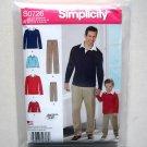 Boys Mens Classic Pants Knit Shirt Simplicity Sewing Pattern S0726