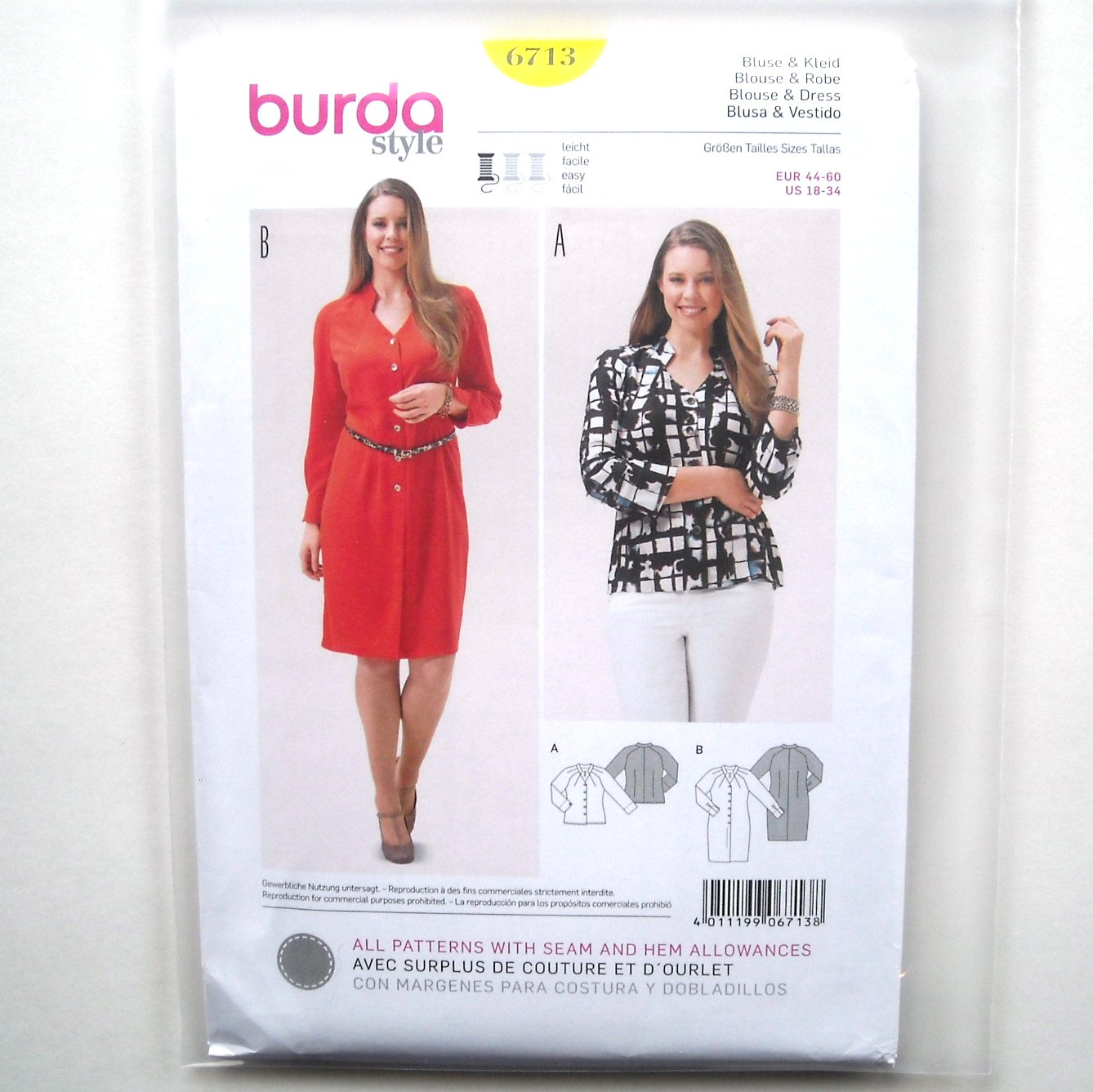 Womens Misses Blouse Dress 18 - 34 Burda Style Sewing Pattern 6713