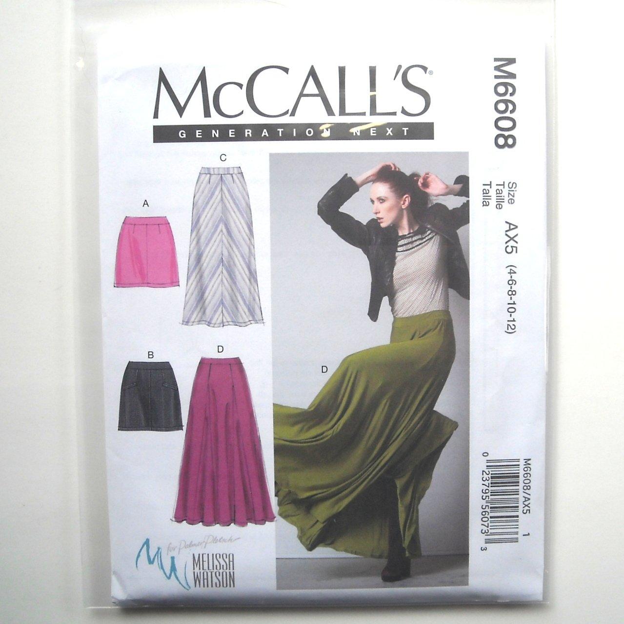 Misses Mini Maxi Skirts 4 6 8 10 12 McCalls Sewing Pattern M6608
