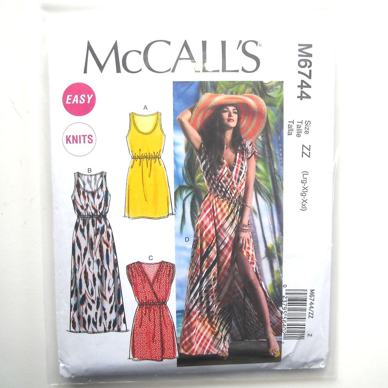 Misses Elastic Waist Summer Dresses L XL XXL McCalls Sewing Pattern M6744