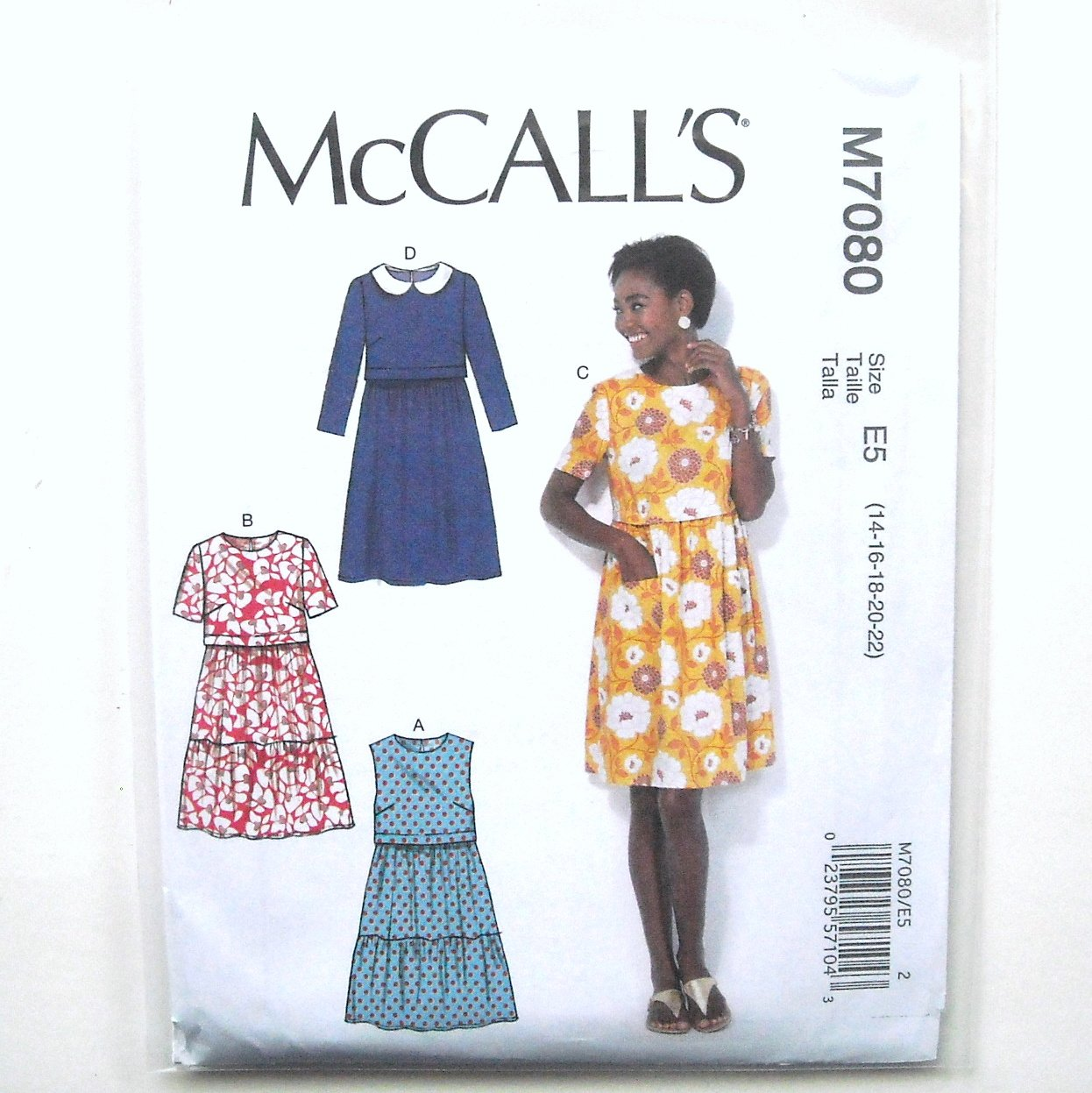 Misses Pullover Dresses 14 16 18 20 22 McCalls Sewing Pattern M7080