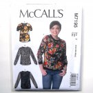 Misses Pullover Tops XS S M McCalls Sewing Pattern M7195