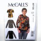 Womens Misses Pullover Tops L XL XXL McCalls Sewing Pattern M7195