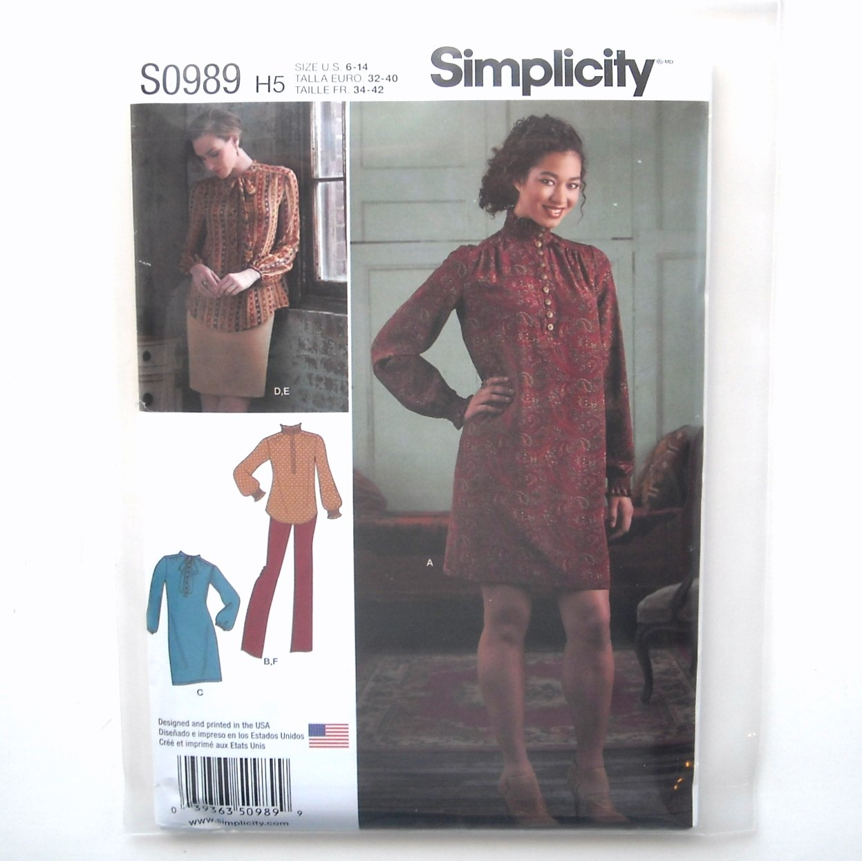 Misses Dress Tunic Skirt Pants 6 - 14 Simplicity Sewing Pattern S0989