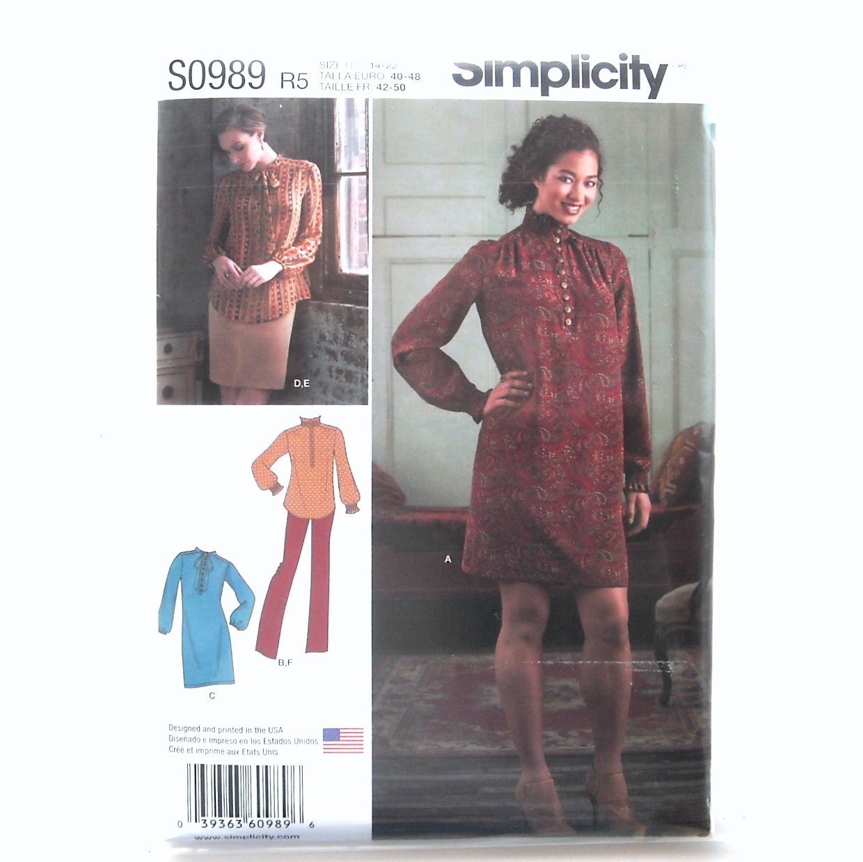 Womens Dress Tunic Skirt Pants 14 - 22 Simplicity Sewing Pattern S0989