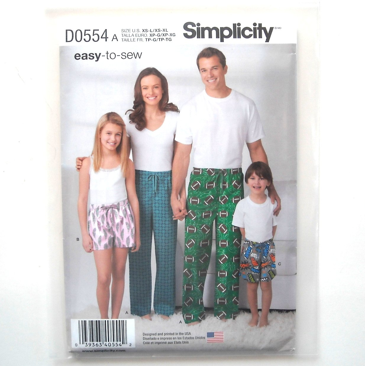Childs Teens Adults Pants Shorts XS - XL Easy Simplicity Sewing Pattern D0554