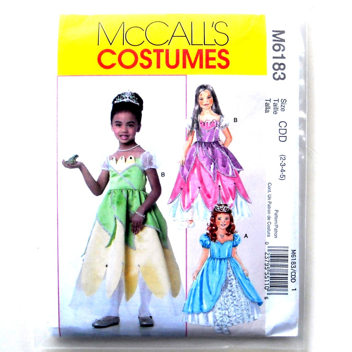 Childrens Girls Princess Costumes McCalls Sewing Pattern M6183