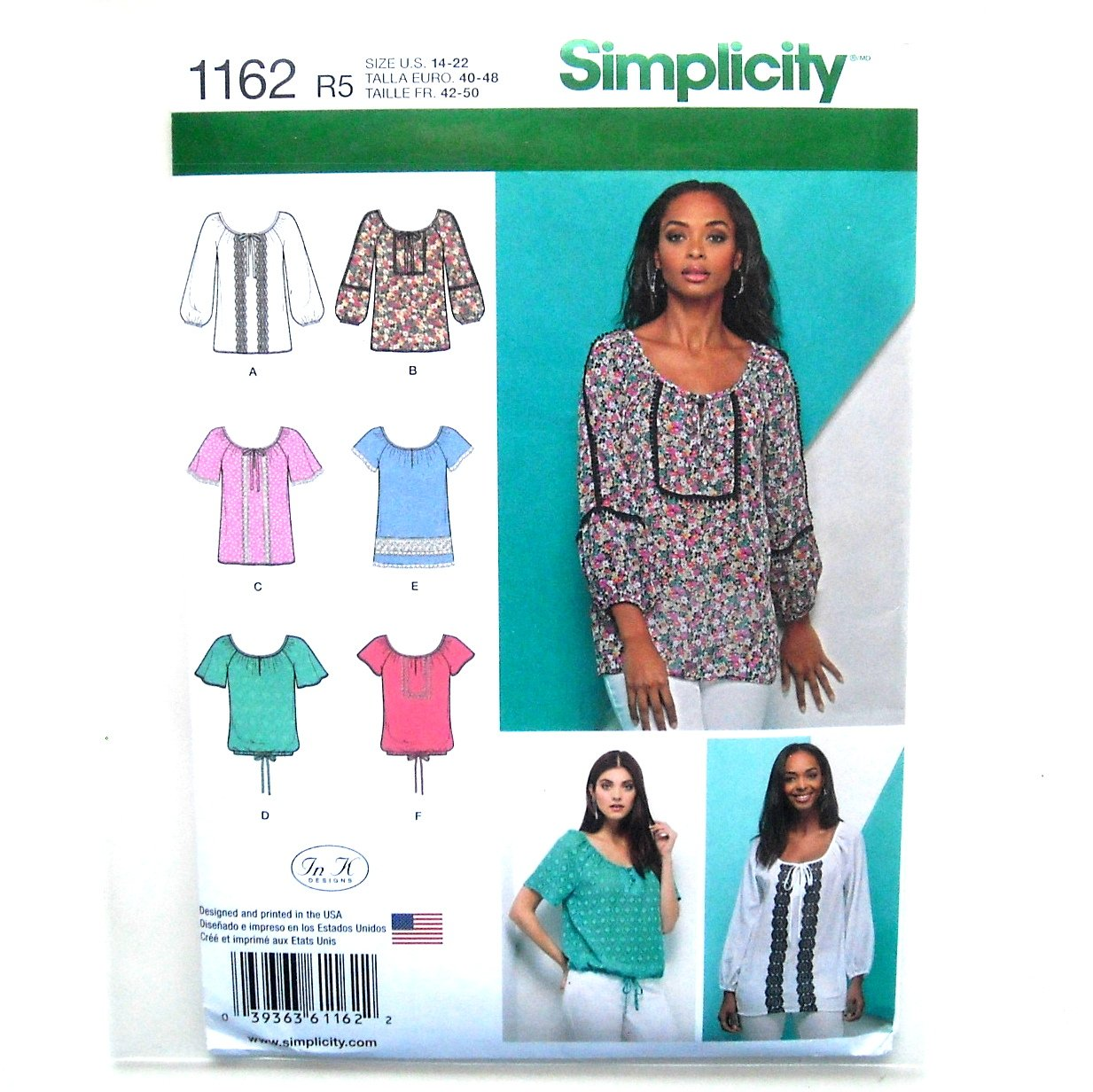 Misses Blouses Tops 14 - 22 In K Designs Simplicity Sewing Pattern 1162
