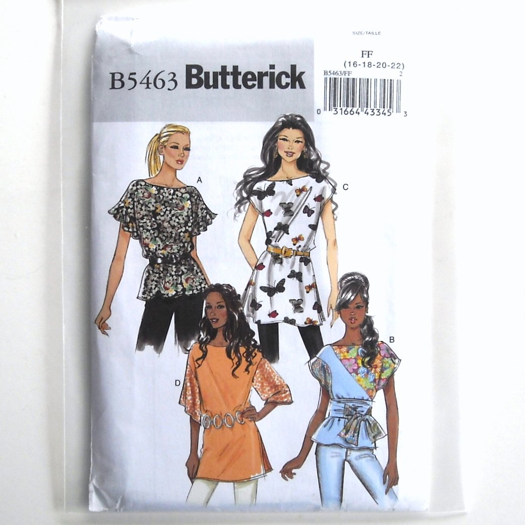Misses Top Sash Tunic Size 16 - 22 Butterick Pattern B5463