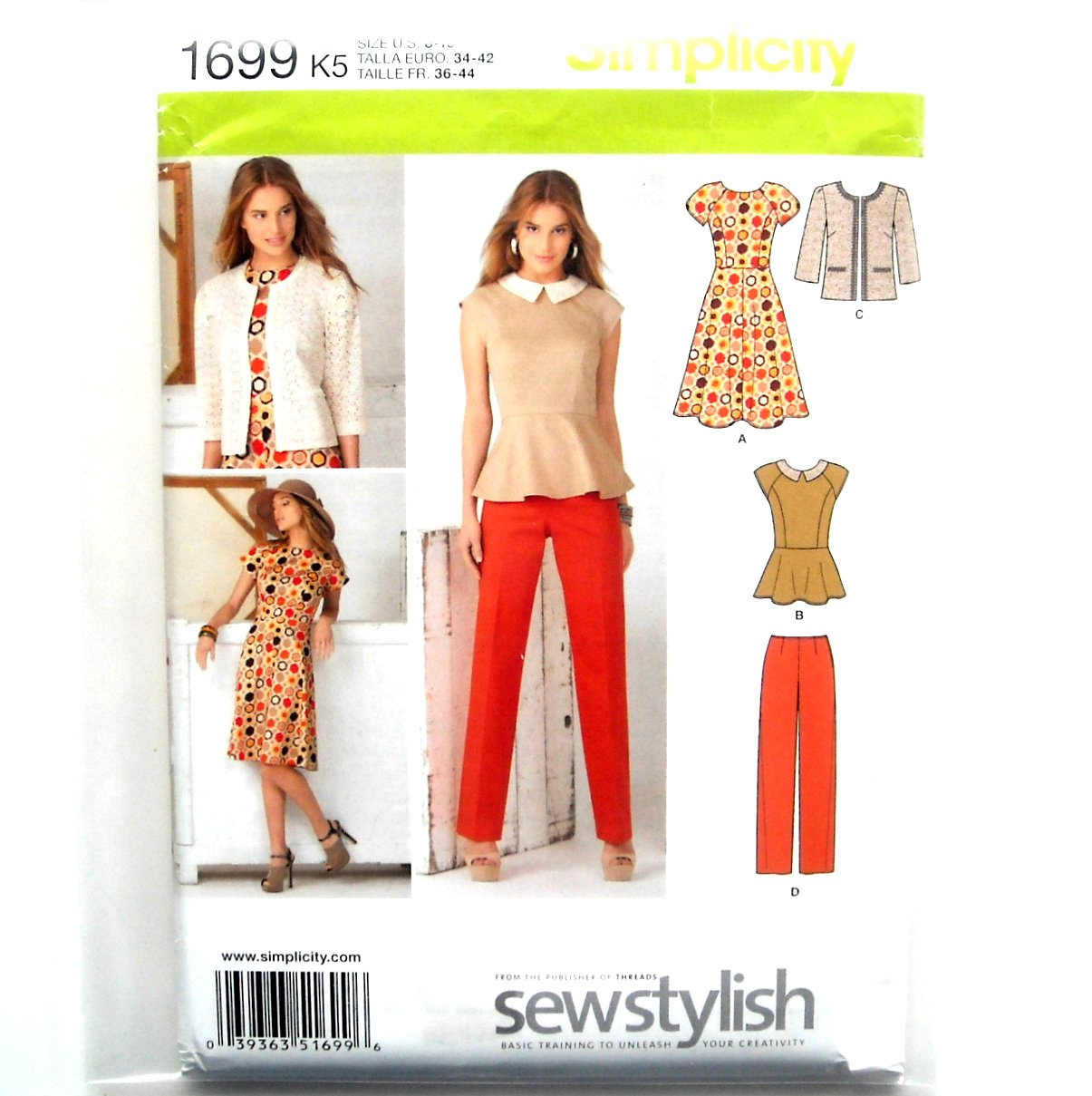 Misses Dress Top Jacket Pants 8 - 16 Threads Simplicity Sewing Pattern 1699