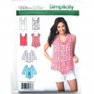 Misses Pullover Tops 8 - 16 Simplicity Sewing Pattern 1806
