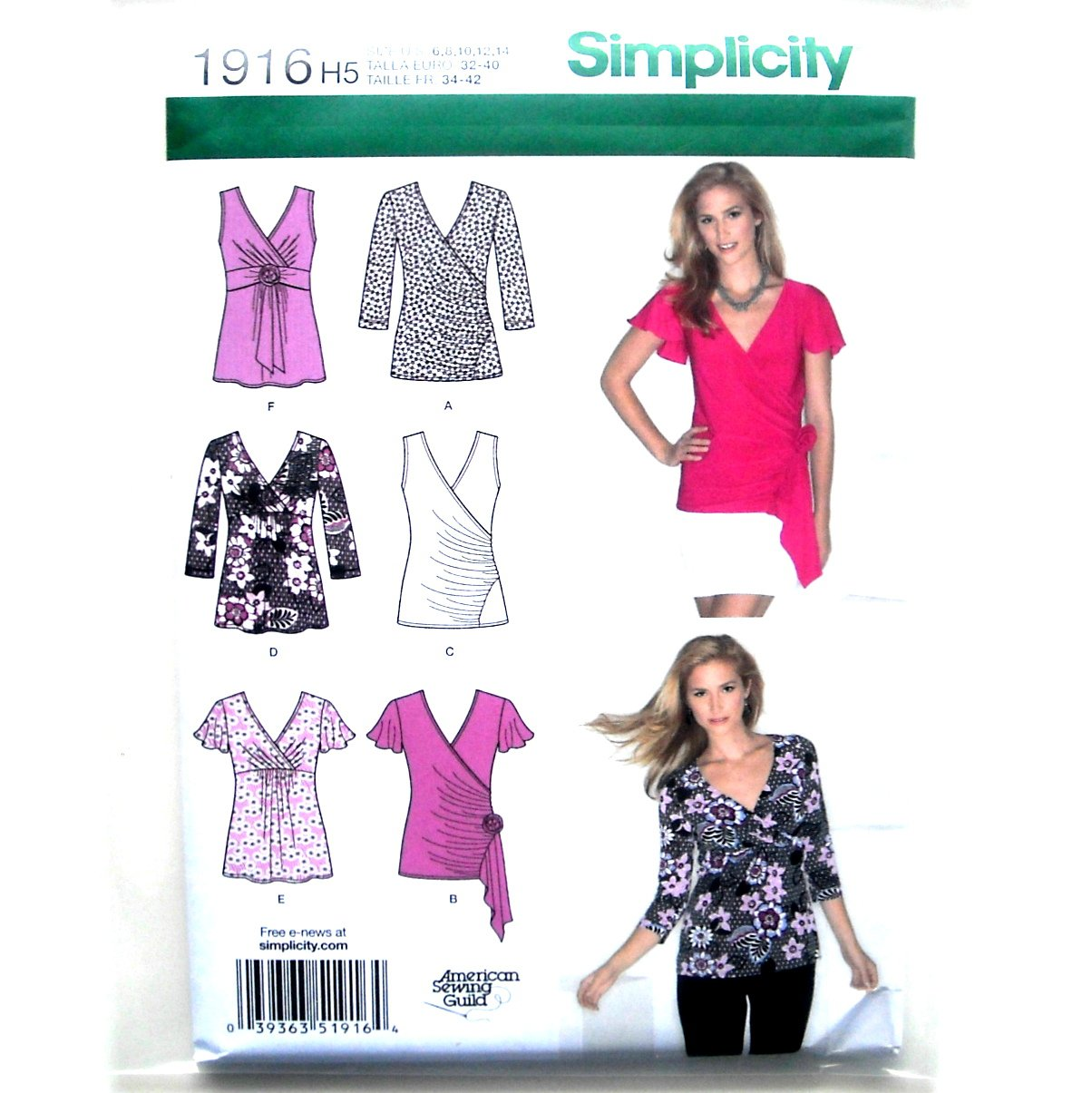 Misses Wrap Knit Tops 6 - 14 American Sewing Guild Simplicity Sewing Pattern 1916