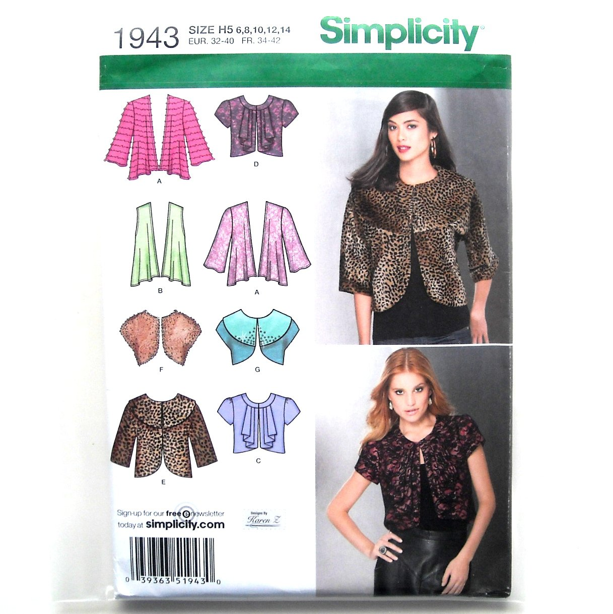 Misses Jackets 6 - 14 Karen Z Designs Simplicity Sewing Pattern 1943