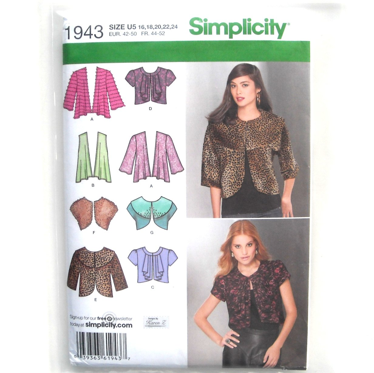 Misses Womens Jackets 16 - 24 Karen Z Designs Simplicity Sewing Pattern 1943