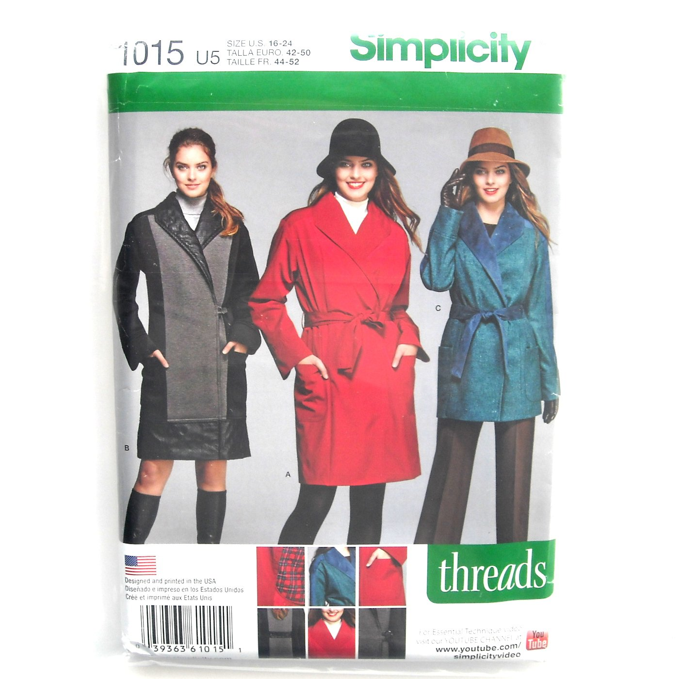 Misses Womens Coat Jackets 16 - 24 Threads Simplicity Sewing Pattern 1015
