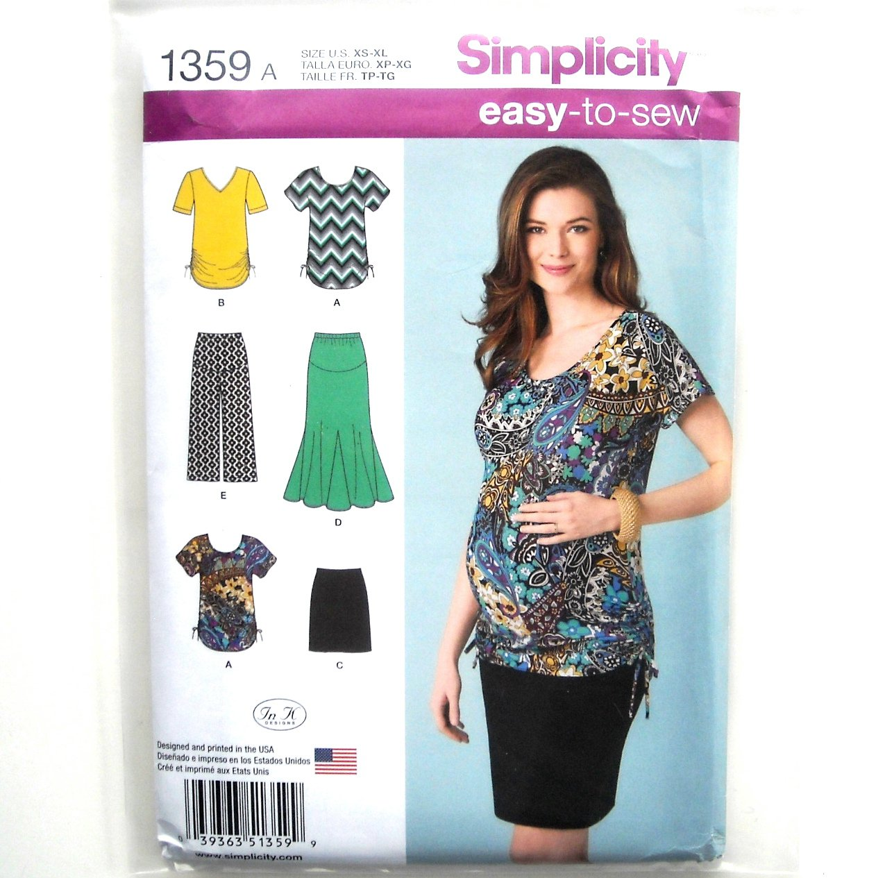 Misses Maternity Skirt Top Pants XS - XL Easy Simplicity Sewing Pattern 1359