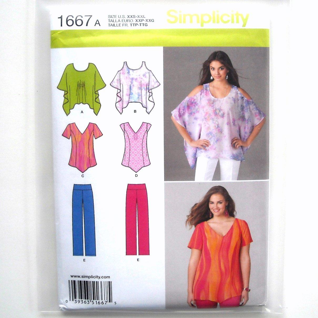 Misses Womens Tops Pants Plus XXS - XXL Simplicity Sewing Pattern 1667