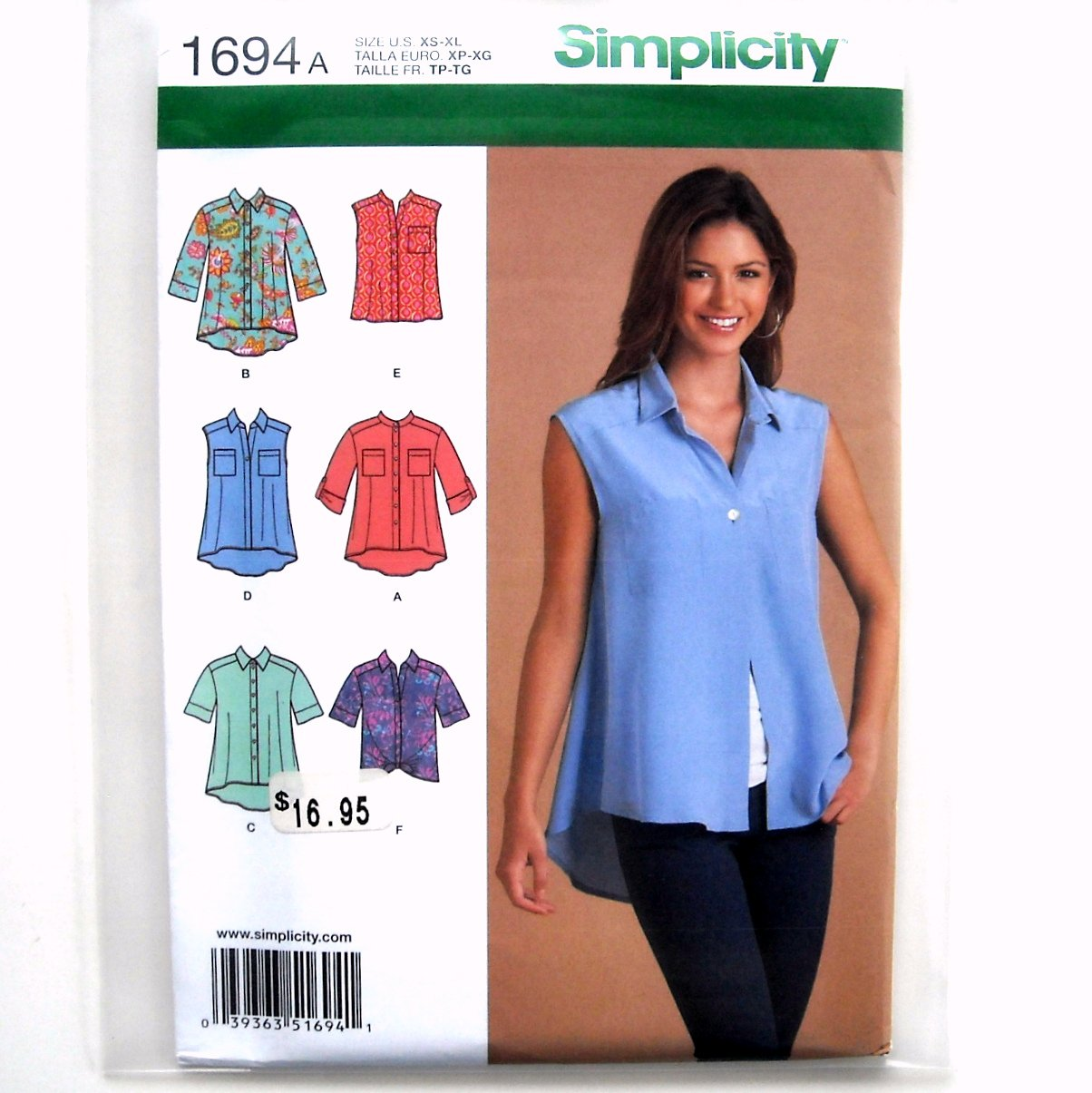 Misses Tops XS - XL Simplicity Sewing Pattern 1694