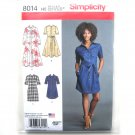 Misses Shirt Dress 6 - 14 American Sewing Guild Simplicity Sewing Pattern 8014