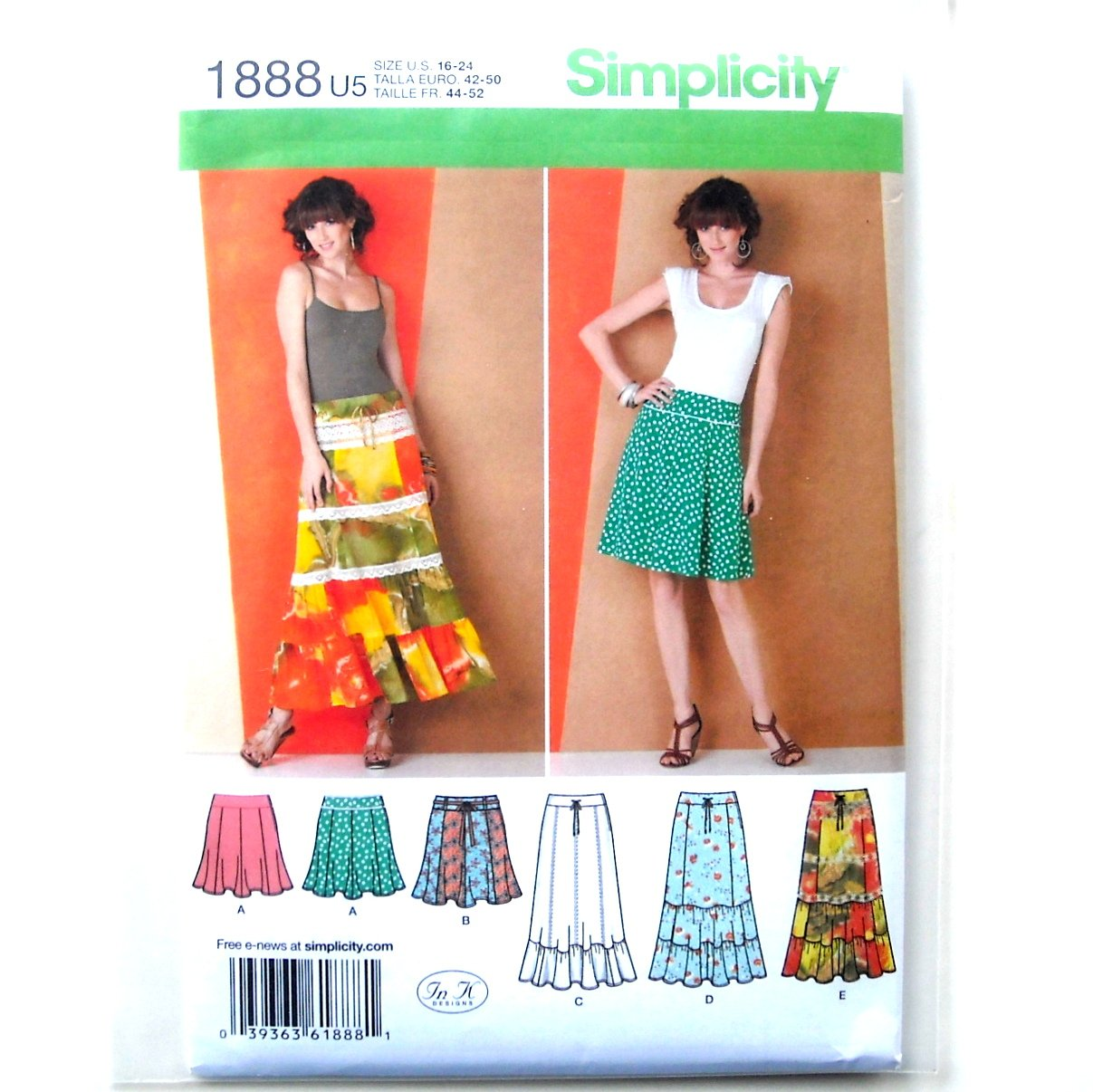 Misses Womens Gored Ruffled Skirts 16 - 24 In K Designs Simplicity Pattern 1888
