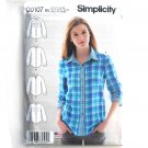 Womens Misses Button Front Shirt 14 - 22 Simplicity Sewing Pattern D0107