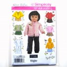 "18"" Doll Clothes Tops Skirts Hoodie Wrights Elaine Heigl Simplicity Pattern 4297"