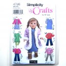 "18"" Doll Clothes Simplicity Pattern 4786 Elaine Heigl Designs Crafts"