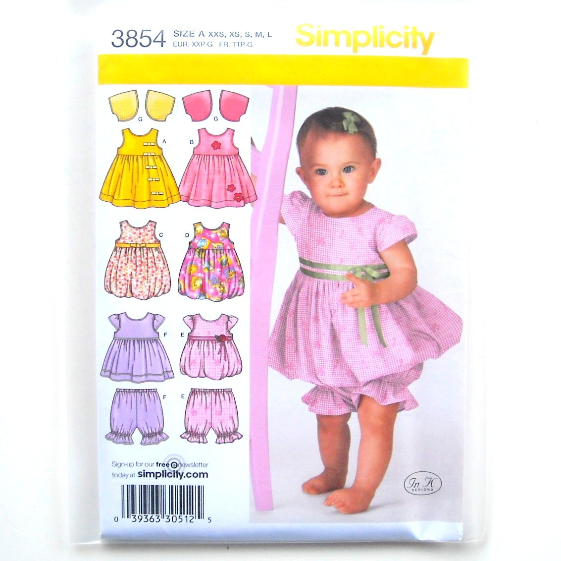 Babies Dress Jumper Top Pantaloons Bolero In K Design Simplicity Pattern 3854